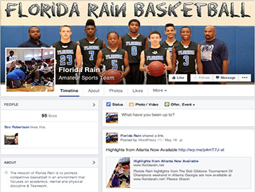 Social Media Integration and CMS System Florida Rain basketball Facebook